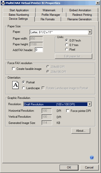 MultiCHAX Virtual Printer Properties