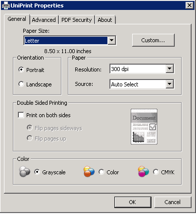 UniPrint settings 1