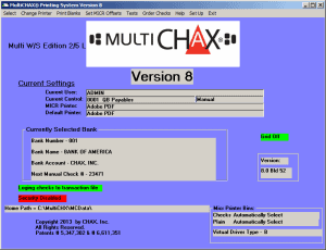 multichax main screen